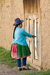 Woman in traditional clothing, Huaripampa (near Huaraz), Peru, South America