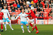 Dannie Bulman and Liam Kinsella compete for the ball during the EFL Sky Bet League 2 match between Walsall and Crawley Town at the Banks's Stadium, Walsall, England on 18 January 2020.