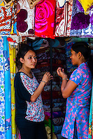 Women in a shop near the Durbar Square, Kathmandu, Nepal.