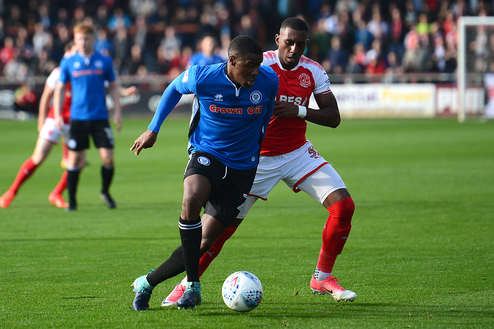 Rochdale's Donervon Daniels vies for possession with Fleetwood Town's Amari'i Bell<br /> <br /> Photographer Richard Martin-Roberts/CameraSport<br /> <br /> The EFL Sky Bet League One - Fleetwood Town v Rochdale - Saturday 14th October 2017 - Highbury Stadium - Fleetwood<br /> <br /> World Copyright © 2017 CameraSport. All rights reserved. 43 Linden Ave. Countesthorpe. Leicester. England. LE8 5PG - Tel: +44 (0) 116 277 4147 - admin@camerasport.com - www.camerasport.com