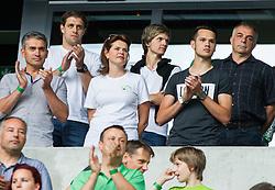 Anze Kopitar, NHL star, Alenka Bratusek, ex-primeminister of Slovenia and Matjaz Kopitar, ex-head coach of Slovenian Ice hockey team during the EURO 2016 Qualifier Group E match between Slovenia and England at SRC Stozice on June 14, 2015 in Ljubljana, Slovenia. Photo by Vid Ponikvar / Sportida