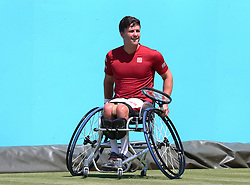 June 22, 2018 - London, United Kingdom - Gordon Reid  in action.during Fever-Tree Championships Wheelchair Event match between Gordon Reid  against Nicolas Peifer (FRA)  at The Queen's Club, London, on 22 June 2018  (Credit Image: © Kieran Galvin/NurPhoto via ZUMA Press)