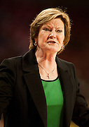 Jan 8, 2012; Fayetteville, AR, USA; Tennessee Lady Volunteers head coach Pat Summitt reacts to a play during a game against the Arkansas Razorbacks at Bud Walton Arena. Tennessee defeated Arknasas 69-38. Mandatory Credit: Beth Hall-US PRESSWIRE