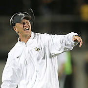 UCF Knights head coach Scott Frost smiles after a fumble recovery during a NCAA football game between the University of South Florida Bulls and the UCF Knights at Spectrum Stadium on Friday, November 24, 2017 in Orlando, Florida. (Alex Menendez via AP)
