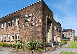 Exterior view of Deanston Distillery in Doune, Scotland, UK