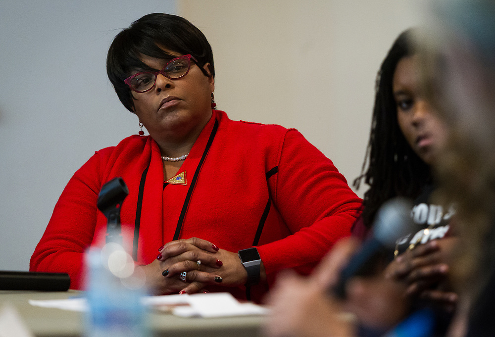 Moderator and Delta Sigma Theta alumna Terri Strong looks on during the South Side Madison Madison School Board public forum hosted by Mount Zion Baptist Church in Madison, Wisconsin, Tuesday, March 6, 2018.