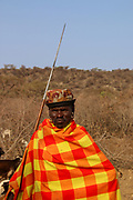 Samburu Maasai warrior with spear. Samburu Maasai an ethnic group of semi-nomadic people Photographed in Samburu, Kenya