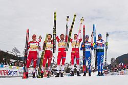 February 24, 2019 - Seefeld In Tirol, AUSTRIA - 190224 Silver medalists Gleb Retivykh and Alexander Bolshunov of Russia, gold medalists Johannes Høsflot Klæbo and Emil Iversen of Norway and bronze medalists Francesco di Fabiani and Federico Pellegrino of Italy celebrate after the men's team sprint final during the FIS Nordic World Ski Championships on February 24, 2019 in Seefeld in Tirol..Photo: Joel Marklund / BILDBYRÃ…N / kod JM / 87889 (Credit Image: © Joel Marklund/Bildbyran via ZUMA Press)