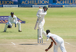 Zimbabwe batsman Peter Moor avoids a short ball during the third day of the 100th test match for Zimbabwe played in a series of two matches with Sri Lanka at Harare Sports Club 31 October 2016.