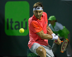 March 26, 2018 - Miami, Florida, United States - David Ferrer, from Spain, in action against Alexander Zverev, from Germany, during his third round match at the Miami Open in Key Biscayne, on March 26, 2018. (Credit Image: © Manuel Mazzanti/NurPhoto via ZUMA Press)