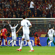 Real Madrid's Cristiano Ronaldo (2ndR) scores during their UEFA Champions League Quarter-finals, Second leg match Galatasaray between Real Madrid at the TT Arena AliSamiYen Spor Kompleksi in Istanbul, Turkey on Tuesday 09 April 2013. Photo by Aykut AKICI/TURKPIX