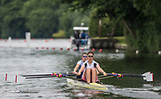 Henley-on-Thames. United Kingdom.  <br /> Women's Double Scull. Bow. Georgina FRANCIS and Emily CARMICHAEL<br /> 2017 Henley Royal Regatta, Henley Reach, River Thames. <br /> <br /> 11:10:55  Saturday  01/07/2017   <br /> <br /> [Mandatory Credit. Peter SPURRIER/Intersport Images.