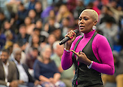 Houston ISD Trustee Jolanda Jones comments dring a ribbon cutting ceremony at Sterling High School, March 3, 2017.