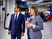 15 APRIL 2019 - DES MOINES, IOWA: JULIÁN CASTRO in the Skilled Trades Alliance auto shop during Castro's visit to the Central Campus Skilled Trades Alliance at the Des Moines Public School's Central Campus Monday. Castro is on his third visit to Iowa since declaring his candidacy for the Democratic ticket of the US Presidency. Casto talked to students and administrators about skilled trades education and toured the campus. Iowa traditionally hosts the the first selection event of the presidential election cycle. The Iowa Caucuses will be on Feb. 3, 2020.                PHOTO BY JACK KURTZ