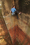 Ben Bransby on the crux of Trouble in Toytown, E5, Nesscliffe