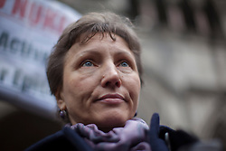 © licensed to London News Pictures. London, UK 27/02/2013. Marina Litvinenko, widow of Russian spy Alexander Litvinenko leaving Royal Courts of Justice in London following a pre-inquest hearing in to the death of her husband on Wednesday 27 February 2013. Photo credit: Tolga Akmen/LNP