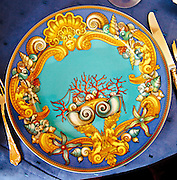 Mermaids and seashells adorn a spectacular plate at The Villa by Barton G restaurant in the splendidly restored Versace Mansion, now a hotel, on Miami Beach's Ocean Drive.