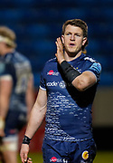 Sale Sharks centre Sam James passes on instructions during a Gallagher Premiership Round 12 Rugby Union match, Friday, Mar 05, 2021, in Eccles, United Kingdom. (Steve Flynn/Image of Sport)