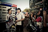 #24_SHARRAH Corben (USA) is interviewed after winning the UCI BMX Supercross World Cup, Pietermaritzburg, 2011