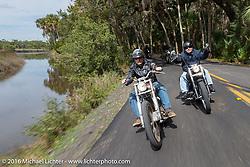 Steve Hatcher riding through Tomoka State Park during Daytona Bike Week 75th Anniversary event. FL, USA. Thursday March 3, 2016.  Photography ©2016 Michael Lichter.