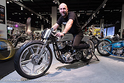 """Fred Bertrand of Krugger Motorcycles in Belgium aboard his latest speed inspired creation with it 103"""" S&S motor for the AMD World Championship of Custom Bike Building show in the custom themed Hall 10 at the Intermot Motorcycle Trade Fair. Cologne, Germany. Tuesday October 4, 2016. Photography ©2016 Michael Lichter."""