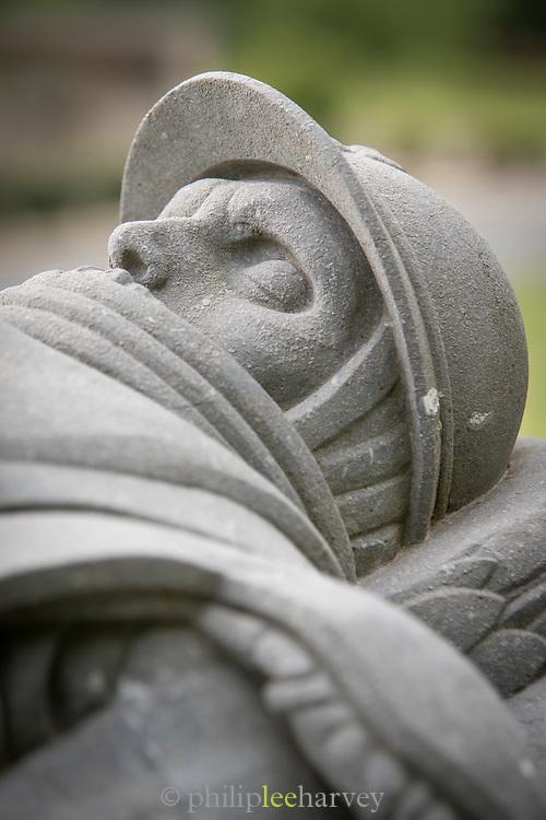 Close-up of sculpture of soldier, Verdun, France