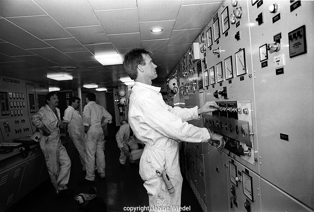 Crew  working in engine room on the Sealink cross channel British ferries in the late 1980s