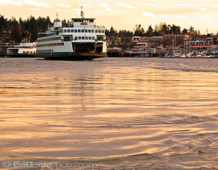 A Washington State Ferry is arriving at Friday Harbor on San Juan Island  Washington, USA