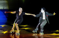 Lucija Mlinaric and Ruben Dzenki as Charlie Chaplin during special artistic roller skating event when Lucija Mlinaric of Slovenia, World and European Champion ended her successful sports career, on November 7, 2015 in Rence, Slovenia. Photo by Vid Ponikvar / Sportida