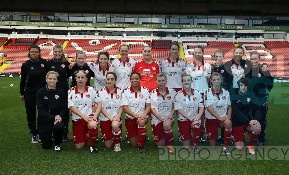 The Sheffield United Ladies team pose for a team photo before kick off during the FA Women's Cup First Round match at Bramall Lane Stadium, Sheffield. Picture date: December 4th, 2016. Pic Clint Hughes/Sportimage