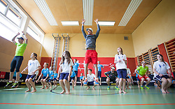 06.05.2013, Volksschule, Dorf an der Pram, AUT, OeSV, Sommer Einkleidung, im Bild Bernhard Gruber(Nordische Kombination OeSV) und Gregor Schlierenzauer (Skisprung OeSV) bei einer Koordinationsuebung mit den Schuelern // during Summer outfitting of Austrian Ski Federation at the elementary school, Dorf an der Pram, Austria on 2013/05/06. EXPA Pictures © 2013, PhotoCredit: EXPA/ Juergen Feichter