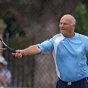 Luis Marrazzo, Argentina, in action in the 70 Mens Singles during the 2009 ITF Super-Seniors World Team and Individual Championships at Perth, Western Australia, between 2-15th November, 2009.