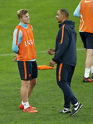 (L-R) Matthijs de Ligt of Holland, assistant trainer Ruud Gullit of Holland during a training session prior to the friendly match between Romania and The Netherlands on November 13, 2017 at Arena National in Bucharest, Romania