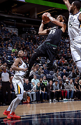 October 31, 2018 - Minneapolis, MN, USA - The Minnesota Timberwolves' Derrick Rose scores in the fourth quarter against the Utah Jazz at the Target Center in Minneapolis on Wednesday, Oct. 31, 2018. The Timberwolves won, 128-125. (Credit Image: © Carlos Gonzalez/Minneapolis Star Tribune/TNS via ZUMA Wire)