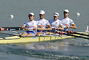 Munich, GERMANY, 27.08.2007, GBR LM4-, Bow,Richard CHAMBERS, James LINDSAY-FYNN, Paul MATTICK and James CLARKE, on the second day on the  Munich Olympic Regatta Course, venue for 2007 World Rowing Championship, Bavaria. [Mandatory Credit. Peter Spurrier/Intersport Images]..... , Rowing Course, Olympic Regatta Rowing Course, Munich, GERMANY