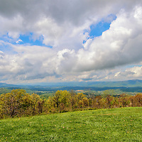 """""""Spring Again in Shenandoah""""<br /> <br /> A lovely spring day gazing out onto the mountains and valleys below with a fantastic sky above!!<br /> <br /> The Blue Ridge Mountains by Rachel Cohen"""