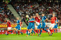 Domen Črnigoj of Slovenia vs Xaver Schlager of Austria during the 2020 UEFA European Championships group G qualifying match between Austria and Slovenia at Wörthersee Stadion on June 7, 2019 in Klagenfurt, Austria. Photo by Vid Ponikvar / Sportida