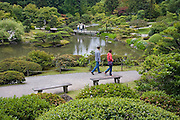 Tourists stroll through the beautifully landscaped Japanese Garden at the Washington Park Arboretum in Seattle, Washington. The city park, a living museum home to over 20,000 plant species from around the world, celebrates its 75th anniversary this year.