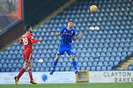 Bradden Inman heads clear during the EFL Sky Bet League 1 match between Rochdale and Accrington Stanley at Spotland, Rochdale, England on 24 November 2018.