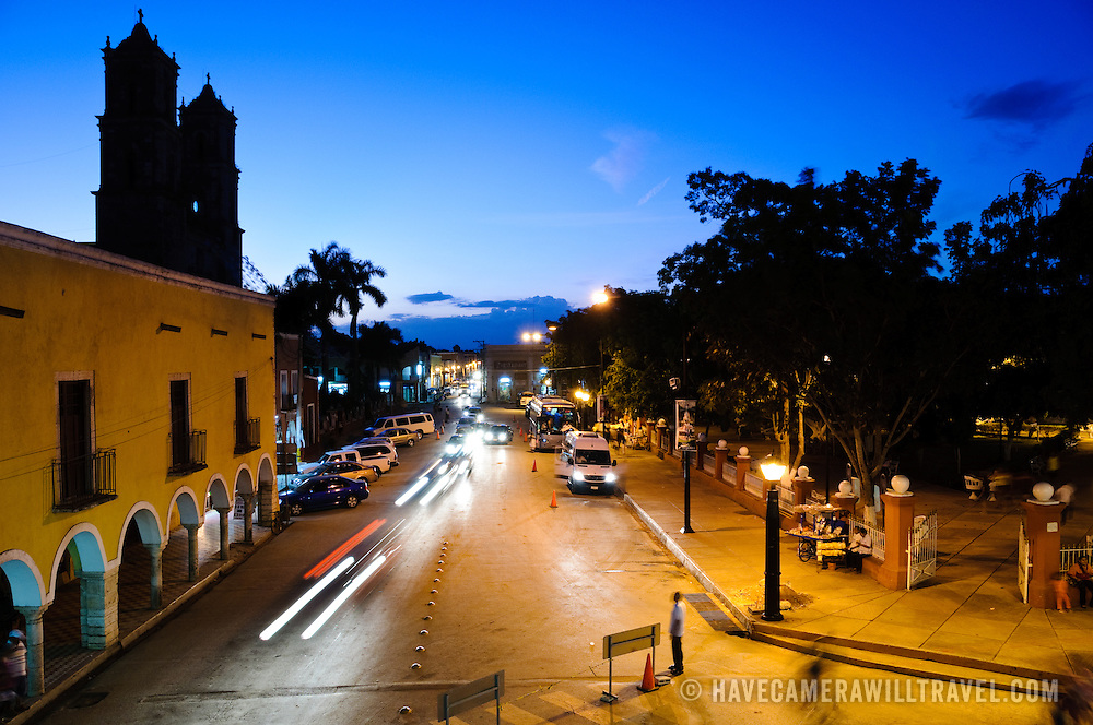 Street scene taken at dusk from balcony of City Hall in downtown Valladolid, Yucatan, Mexico