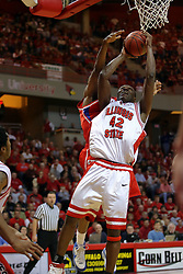 24 March 2008: Dinma Odiakosa fends off a defender as he takes the ball to the hoop. The Flyers of Dayton defeated the Redbirds of Illinois State 55-48 on Doug Collins Court inside Redbird Arena in Normal Illinois.