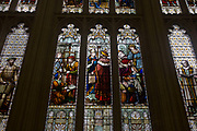 Stained glass images of important historic medieval figures from the City of London's history, seen in the Guildhall. From over the centuries of London history, these figures were the city fathers, those who controlled on Britain's trade and maintained its position as a major trading port - from earliest medieval times to the modern era. The Guildhall is a building in the City of London, off Gresham and Basinghall streets, in the wards of Bassishaw and Cheap. It has been used as a town hall for several hundred years, and is still the ceremonial and administrative centre of the City of London and its Corporation.