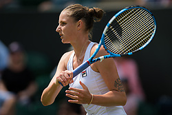 July 1, 2019 - London, GREAT BRITAIN - Karolina Pliskova of the Czech Republic in action during the first round of the 2019 Wimbledon Championships Grand Slam Tennis Tournament against Lin Zhu of China (Credit Image: © AFP7 via ZUMA Wire)