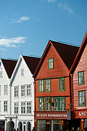 Colourfully painted wooden buildings in Bryggen, the old harbour in Bergen, Norway, Europe