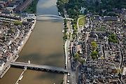 Nederland, Limburg, Gemeente Maastricht, 27-05-2013; De Maas met beneden de Sint Servaasbrug, en de Maasboulevard, rechts de historische binnenstad, links de Oeverwal in stadsdeel Wyck . Boven de fiets- en voetgangersbrug Hoge Brug (architect René Greisch) naar Wyck en de nieuwe wijk Ceramique (linksboven).<br /> The river Maas (Meuse) with the St. Servaas Bridge (bottom), and the Maasboulevard, the Old Townon the right  and other bank the new constructed district Ceramique.<br /> luchtfoto (toeslag op standaardtarieven);<br /> aerial photo (additional fee required);<br /> copyright foto/photo Siebe Swart.