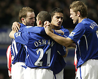 Photo: Aidan Ellis.<br /> Everton v Sunderland. The Barclays Premiership. 01/04/2006.<br /> Everton's James McFadden celebrates his goal with Leon Osman tim Cahill and James Beattie
