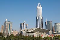 Chine, Shanghai, Place du Peuple. Tour Tomorrow Square. // China, Shanghai, People Square. Tomorrow Square tower.