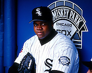 CHICAGO - CIRCA 1990's:  Frank Thomas of the Chicago White Sox looks on prior to an MLB game at Comiskey Park in Chicago, Illinois.  Thomas played for the White Sox from 1990-2005.  ((Photo by Ron Vesely)