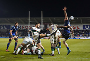 London Irish scrum-half Ben Meehan clears the ball under pressure from Sale Sharks second-row Bryn Evans during his sides 39-0 defeat during a Gallagher Premiership Rugby Union match, Friday, Mar. 6, 2020, in Eccles, United Kingdom. (Steve Flynn/Image of Sport)
