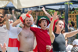 © Licensed to London News Pictures. 13/06/2021. London, UK. Football fans gather at Flat Iron Square in central London for the England v Croatia Euro 2020 Group D match played at Wembley Stadium. Photo credit: Peter Manning/LNP